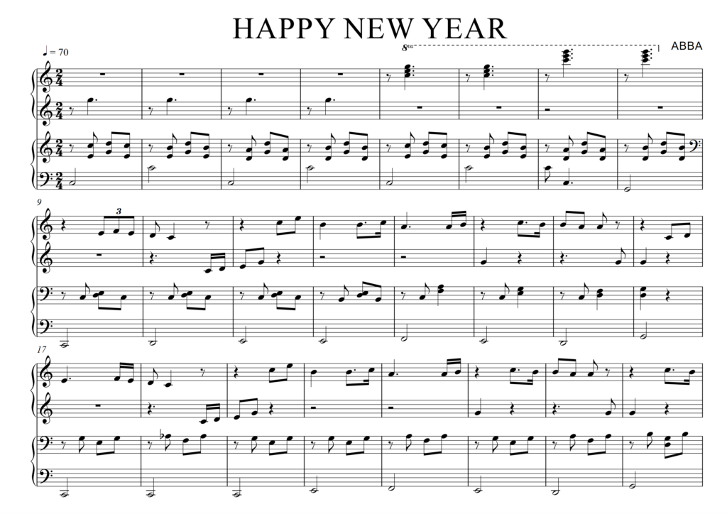 Tab guitar, sheet nhạc piano Happy New Year ABBA|NEW!!!