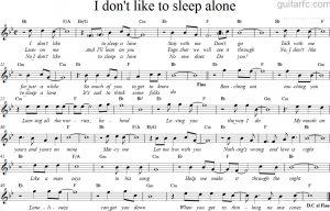 Sheet nhạc bài hát i don't like to sleep alone