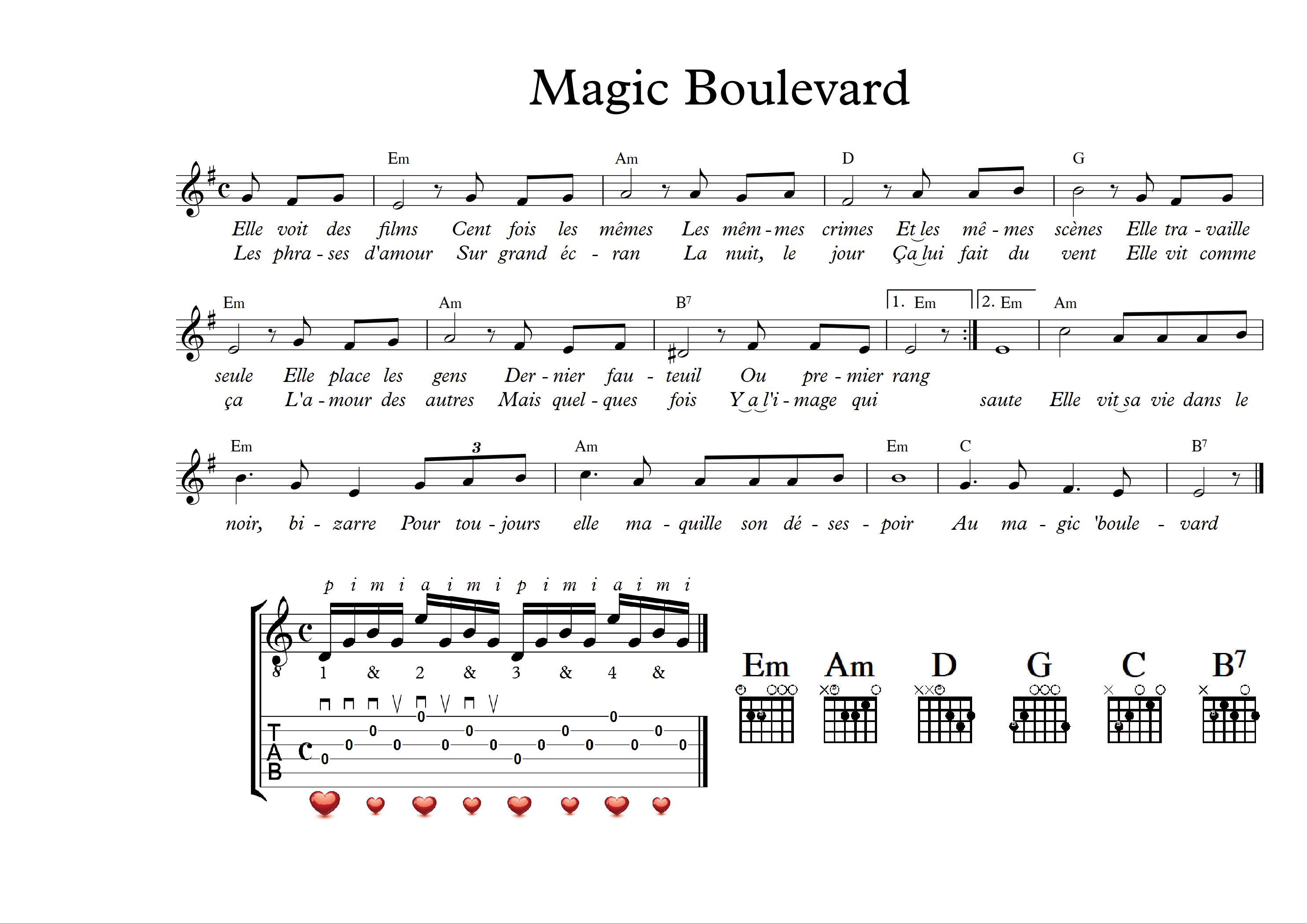 Sheet nhạc bài hát magics boulevard