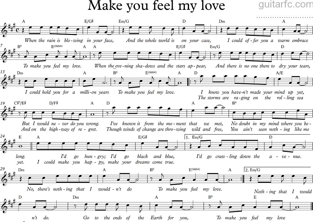 Sheet nhạc bài hát make you feel my love