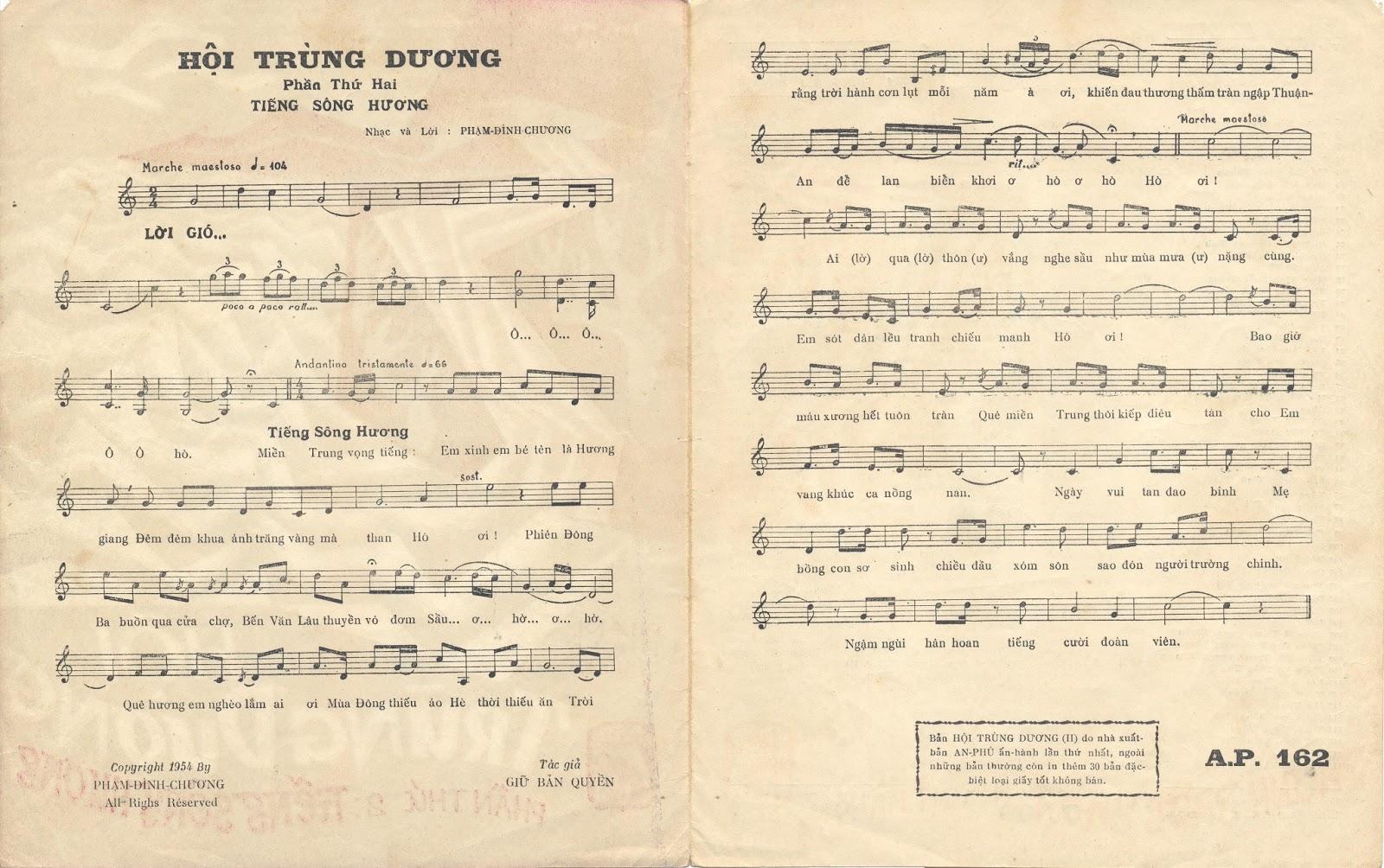 Sheet nhạc bài hát tiếng sông hương