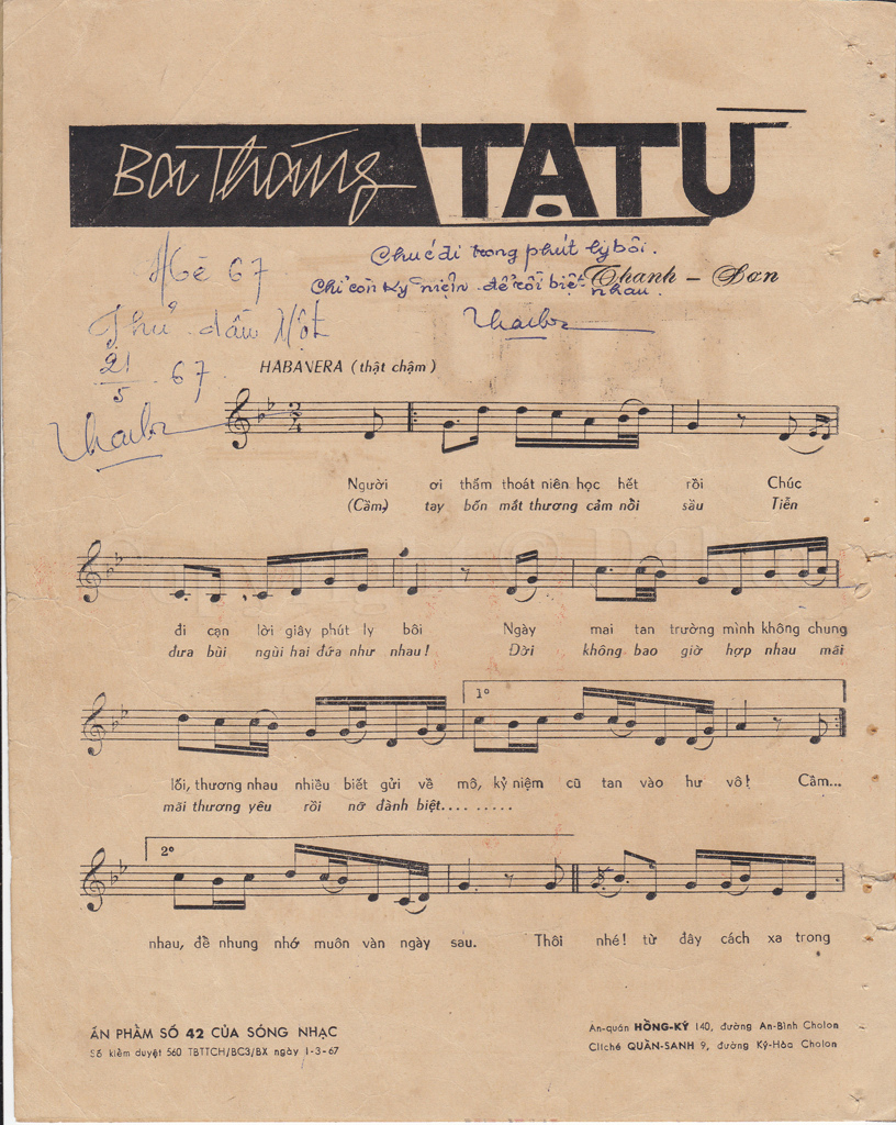 Sheet nhạc bài hát ba tháng tạ từ 1