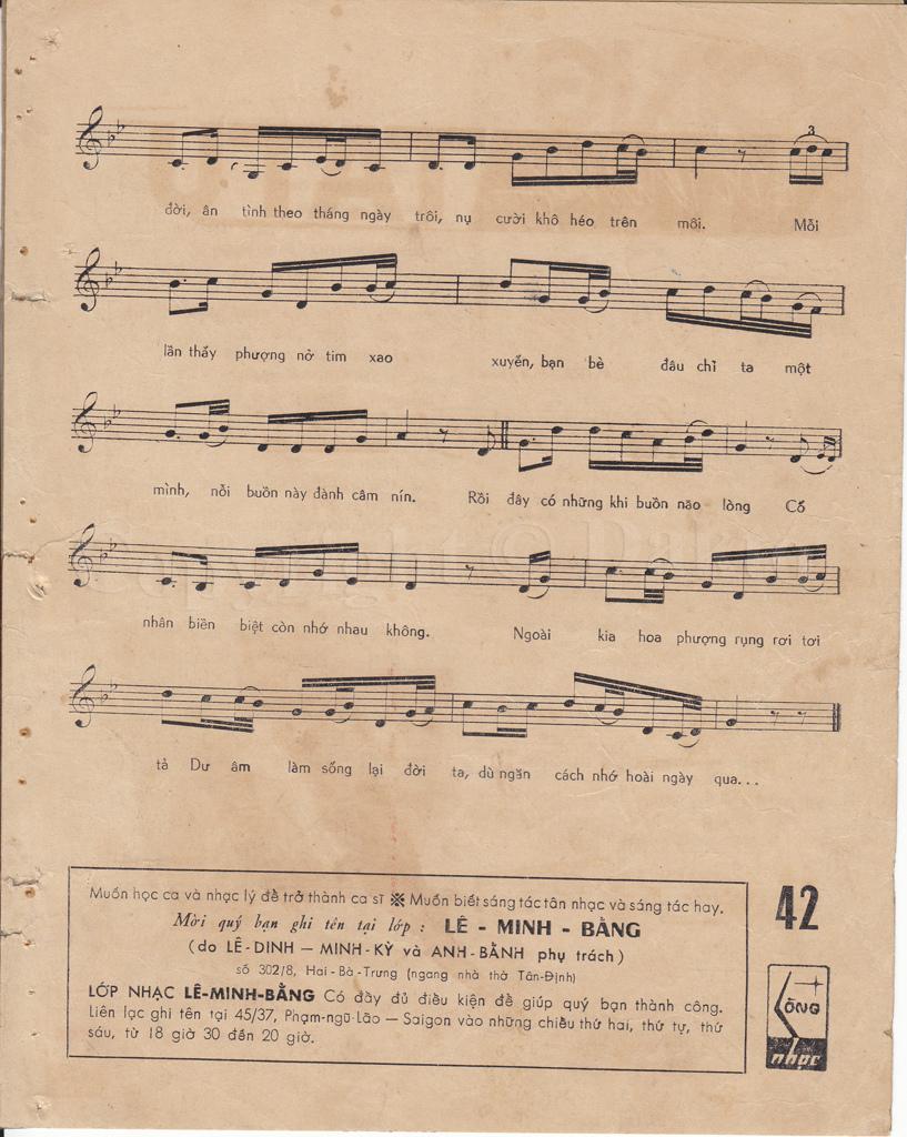 Sheet nhạc bài hát ba tháng tạ từ 2